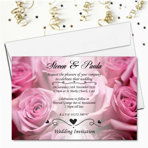 10 Personalised Pink Roses Wedding Invitations Day / Evening N52